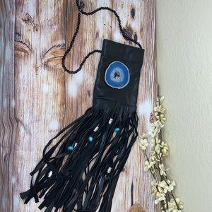 Boho/Hippy/biker geode fringe leather satchel